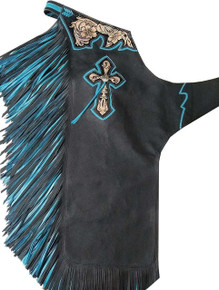 Western Black Top Grain Bull Riding Rodeo Chaps with Torquoise/Black Fringes  By Aledo Saddlery
