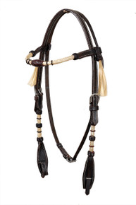 dark oil brown leather rawhide weaved headstall stall