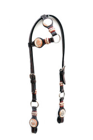 western dark oil one ear rawhide braided headstall