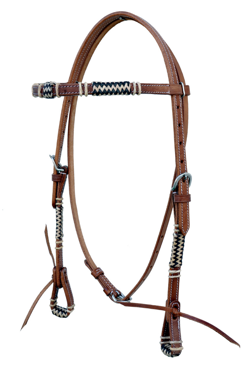 Western Natural Leather Rawhide Braided Brow-band Style Headstall /& Reins