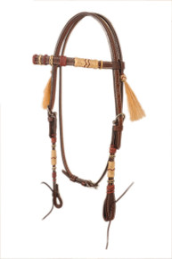dark oil leather style rawhide braided headstall