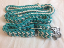 western nylon green/white braided & knotted roping reins