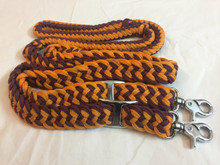 Nylon Braided & Knotted Roping Reins with Trigger Snaps