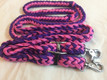 western nylon braided & knotted pink/blue roping reins