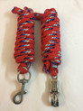 western nylon braided and knotted red roping reins