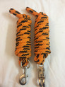 western nylon orange/black roping reins