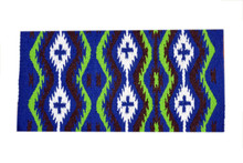 green & blue wool saddle pad