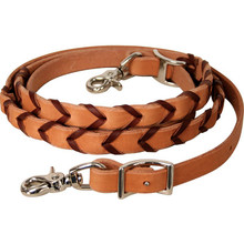 Western Natural Leather Weaved  Roping Reins By Aledo Saddlery