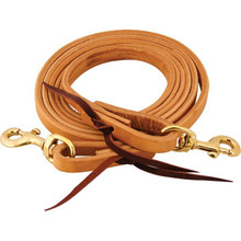 Western Natural Plain Roping Reins With Waterloop By Aledo Saddle