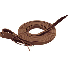 Western Brown Plain Split Roping Reins With Waterloop By Aledo Saddle