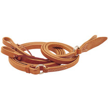Western Natural Plain Split Reins With Waterloop And Leather Poppers By Aledo Saddle