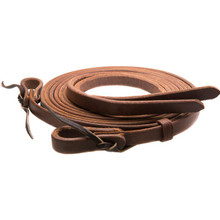 Western Brown Plain Roping Reins With Waterloop By Aledo Saddle