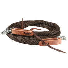 Western Brown Nylon Roping Reins With Waterloop By Aledo Saddle