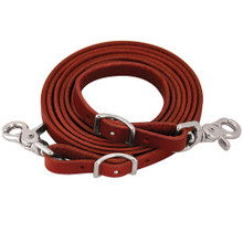 Western Walnut Leather Roping Reins With Snap Trigger By Aledo Saddle