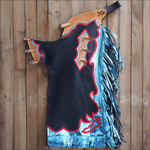 Western Black & Blue Barrel Rodeo Leather Softy Chaps With Matching Fringes By Aledo Saddlery