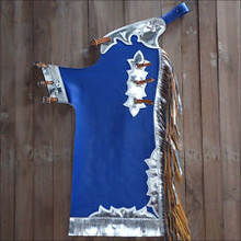 Western Royal Blue Barrel Rodeo Leather Softy Chaps With Matching Fringes By Aledo Saddlery