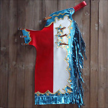 Western White/Blue & Red Barrel Rodeo Leather Softy Chaps With Matching Fringes By Aledo Saddlery