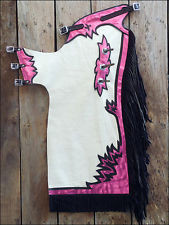 Western White & Purple Barrel Rodeo Leather Softy Chaps With Matching Fringes By Aledo Saddlery