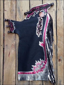 Western Black And Purple Barrel Rodeo Leather Softy Chaps With Matching Fringes By Aledo Saddlery