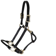 Western Brown Rolled Leather Shaped Halter By Aledo Saddlery
