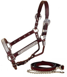Western Mahagony Leather Silver Engraved Silver Pieces Halter By Aledo Saddlery