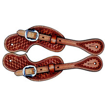 Western Mahagony Leather Hand Tooled Set Of Spur Strap By Aledo Saddlery