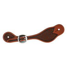 Western Brown Waxed Finished Leather hand Basket Tooled Set Of Spur Strap By Aledo Saddlery