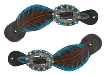 Western Dark Brown Leather set of Spur Strap with Painted Leaf Pattern By Aledo Saddlery