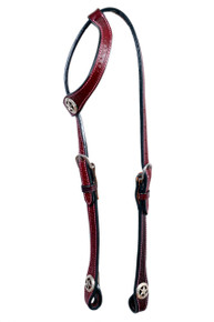 Western Mahagony Leather Hand Basket Tooled Headstall With Star ConchosBy Aledo Saddlery