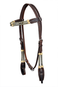 Western Dark Oil Rawhide Braided Headstall By Aledo Saddlery