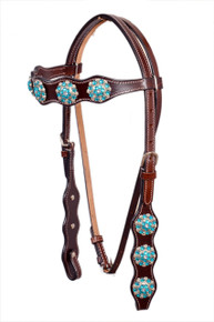 Western Brown Leather Shaped Headstall with Stones Studded Conchos By Aledo Saddlery