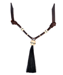 Western Dark Oil Set of Rawhide Braided with Horse Hair Tassel  By Aledo Saddlery 001