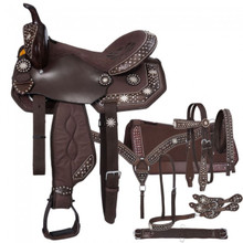 Western Brown Leather And Synthetic Saddle with Set of 7 Accesories By Aledo Saddlery