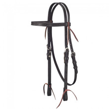 Western Black Leather Hand Barbed Wire Tooled Browband Headstall By Aledo Saddlery