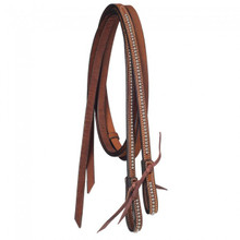 Western Brown Leather Silver Spot Studded Leather Reins with Water Loop By Aledo Saddlery