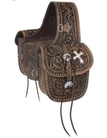 Western Oil Treated Leather Hand Tooled  Western Saddle Bag  By Aledo Saddlery