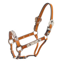 Western Tan Leather Silver Engraved Hardware  Halter with Lead Chain By Aledo Saddlery
