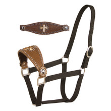 Western Dark Brown Leather Hand Tooled and Carved Cross Bronc Halter By Aledo Saddlery