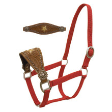 Western Dark Brown Leather Hand Tooled and Carved Star Bronc Halter By Aledo Saddlery