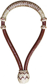 Western Tan Leather Rawhide Braided Bosal with Tan Accent  By Aledo Saddlery