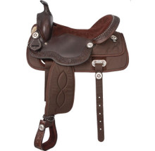 Western Brown Leather Synthetic Barrel Racer with Conchos and Silver Dots By Aledo Saddlery