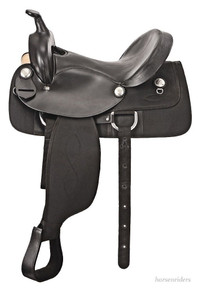 Western Black Leather Synthetic Barrel Racer By Aledo Saddlery