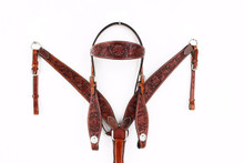 Western Dark Brown Set Of Hand Carved Headstall and Breast Collar By Aledo Saddlery