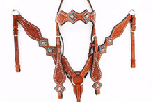 Western Light Brown Set Of Hand Carved Headstall and Breast Collar By Aledo Saddlery