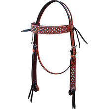 Western Tan Leather Hand Tooled Headstall with Blue Stones By Aledo Saddlery