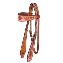 Western Natural Leather Hand Carved Headstall with Pink Hand Paint Inlay By Aledo Saddlery