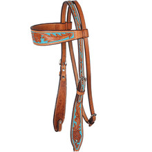 Western Natural Leather Hand Carved Headstall with Blue Hand Paint Inlay By Aledo Saddlery