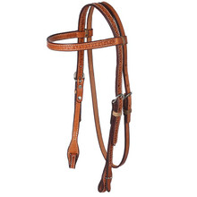 Western Natural Leather Hand Tooled  Browband Style Headstall By Aledo Saddlery