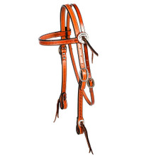 Western Natural Leather Hand Tooled  Browband Style Headstall With Silver Slotted ConchosBy Aledo Saddlery