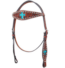 Western Brown Leather Hand Carved  Browband Style Headstall With Cross inlay and Dots By Aledo Saddlery